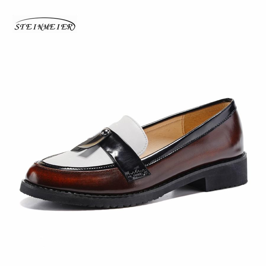 Женщины натуральная кожа обувь Оксфорд обувь женщина коричневый простой ручной старинные ретро свободного покроя плоские туфли для женщин