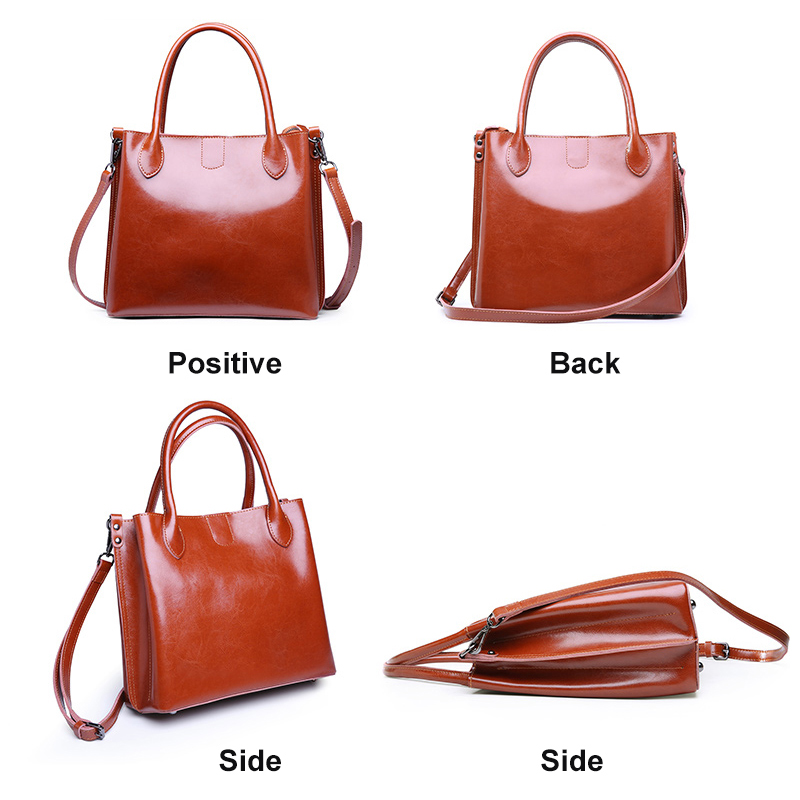 women's bag female genuine leather Fashion Oil Wax Real Cow Leather women bag Women Leather Handbags Casual Brown Bucket bags-in Top-Handle Bags from Luggage & Bags    3
