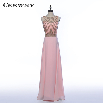 CEEWHY O-Neck Formal Dress Chiffon Evening Dresses Crystals Beading Evening Gowns Prom Party Dress Floor-length Vestido De Festa