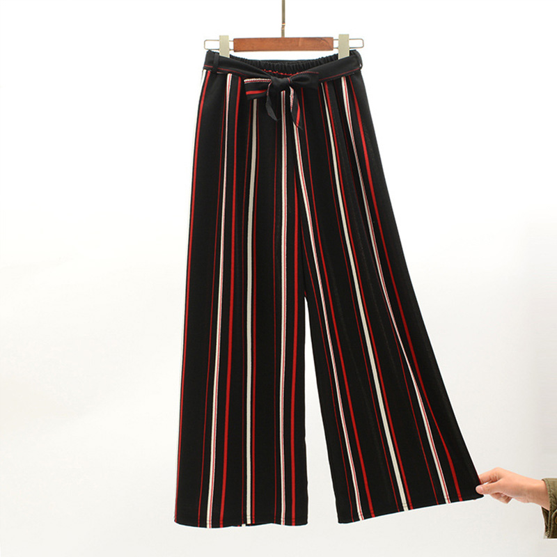 Navy Blue Wide Leg Cropped Pants 2019 Spring Summer Elegant High Waist Women Striped Pants Bow Tie Lace-up Loose Pants 2