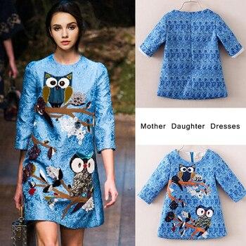 80% Algodón mamá e hija vestido búho bordado tres cuartos manga familia juego ropa madre e hija vestidos