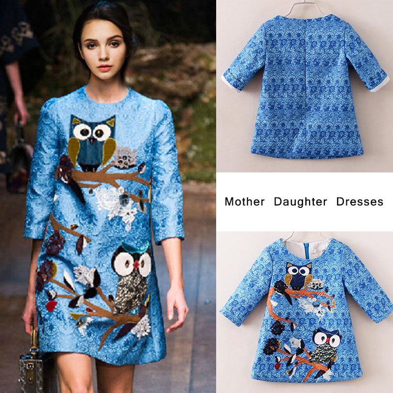 80% Cotton Mom And Daughter Dress Owl Embroidery Three Quater Sleeve Family Matching Clothes Mother and Daughter Clothes Dresses