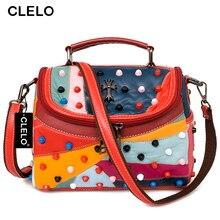 CLELO Fashion Handbag Luxury Women Rivets PU Bag Sheepskin Messenger Bags Handbags Women Famous Brand Designer