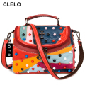 CLELO Luxury Women Genuine Leather Bag Sheepskin Messenger Bags Handbags Women Famous Brand Designer Female Handbag Shoulder Bag
