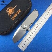 цена на LEMIFSHE L05 flipper folding ball bearing D2 TC4 titanium Kitchen Fruit camping hunting outdoors survive Utility knife EDC tools