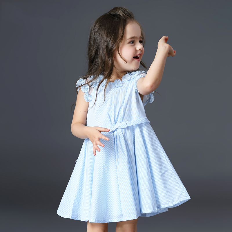 Brand Baby Summer Dress 2017 Fashion Girls Cotton Striped Dresses Sky Blue Pink Clothes Girl Vestidos Robe Fille 2 3 4 5 6 Years blue sky чаша северный олень