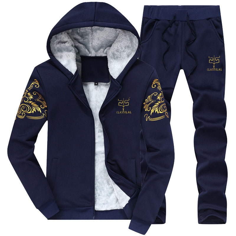 Winter Men's Thicken Sweatshirts Suits Designer Printing Male Hoodies Fleece Jersey Suit Men Sportwear Leisure Suits 4XL BFDY7