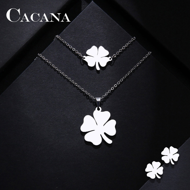 CACANA Stainless Steel Sets For Women Clover Shape Necklace Bracelets Earrings 1