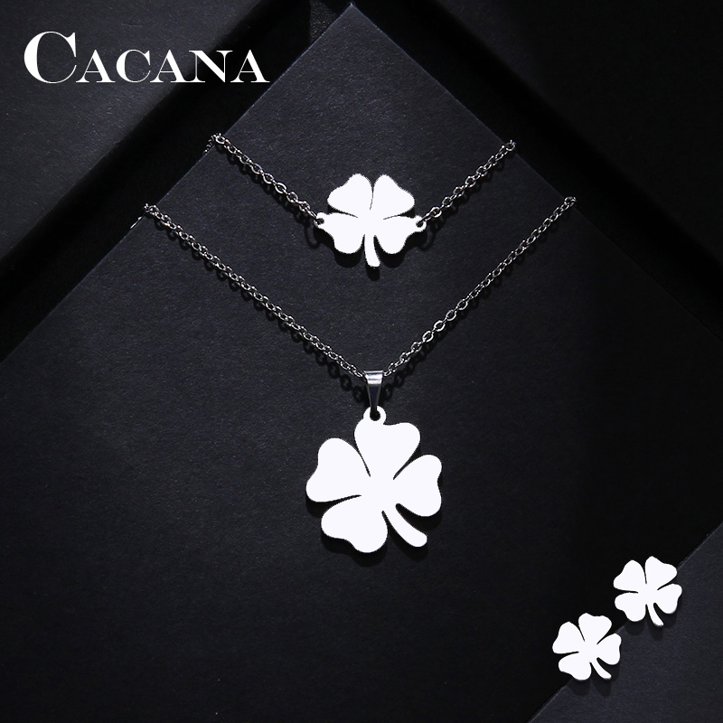 Cacana Stainless Steel Sets For Women Clover Shape Necklace Bracelets Earrings For Women Lover's Engagement Jewelry S79 #2