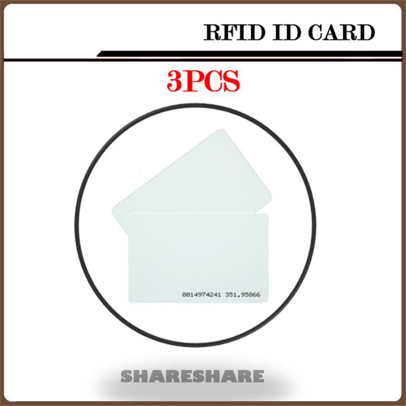 3Pcs/Lot White ID Card RFID Card 125KHZ RFID Card For Access Control System Timeclock 100pcs lot printable pvc blank white card no chip for epson canon inkjet printer suitbale portrait member pos system