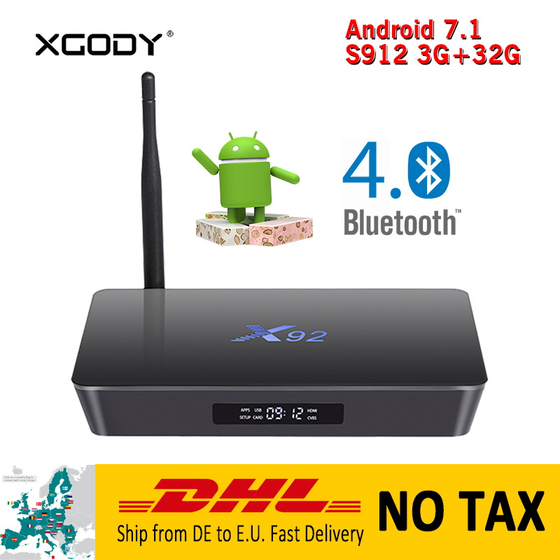 X92 Smart TV Box Android 7.1 Nougat S912 Octa Core 3G RAM 32G ROM 4K HD TV Receiver Media Player Netflix Google Play Set top Box eichholtz настольная лампа boxter