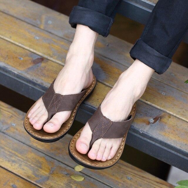 2019 Summer Shoes Men Slippers Genuine Leather Beach Slippers Mens Flip Flop Sandals Summer Man Shoes Male Flip Flops KA673 4