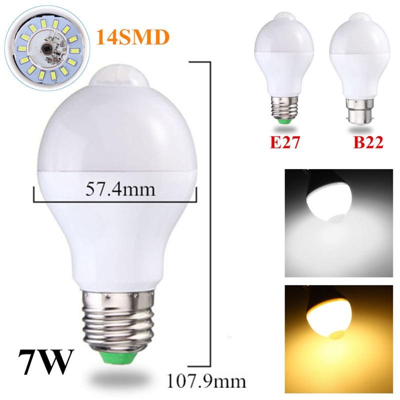 Smuxi 5W/7W/12W B22/E27 Motion Sensor Light Bulb Smart PIR LED Bulbs Auto On/Off Night Lights