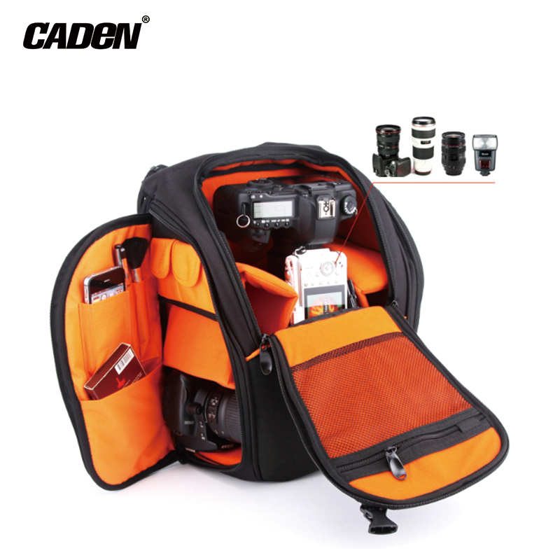 ФОТО CADeN Camera Bags DSLR Backpack Photo Video Waterproof Polyester Black Protective Case for Dslr Camera Nikon Canon Sony K5