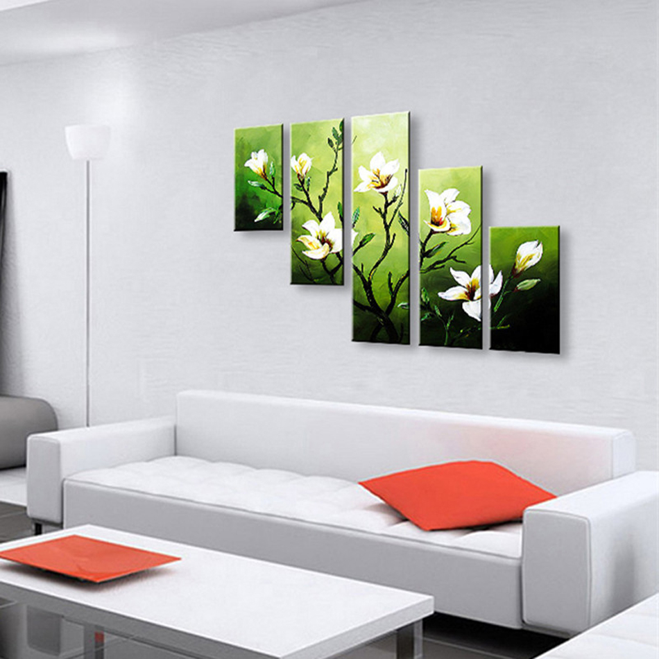 Hand Painted High Quality Abstract Oil Painting 5 Pcs Modern Camellia - Home Decor - Photo 3