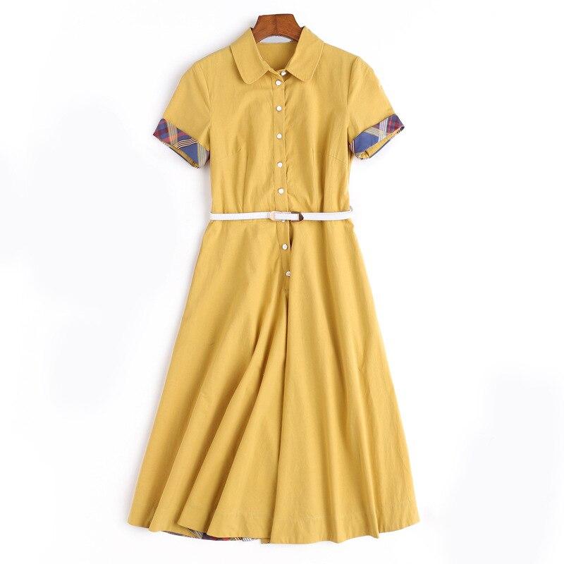Algodón Camisas Una Oficina Alta La 2018 Línea Vestido Corta Manga 100 Mujeres Nueva Amarillo Verano De Calidad 1d5UqWw