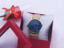 2015 New Style Girls Costume Watch Starry Sky Sequence Quartz Motion PU Leather-based Luster Strap Colourful Wrist Watches