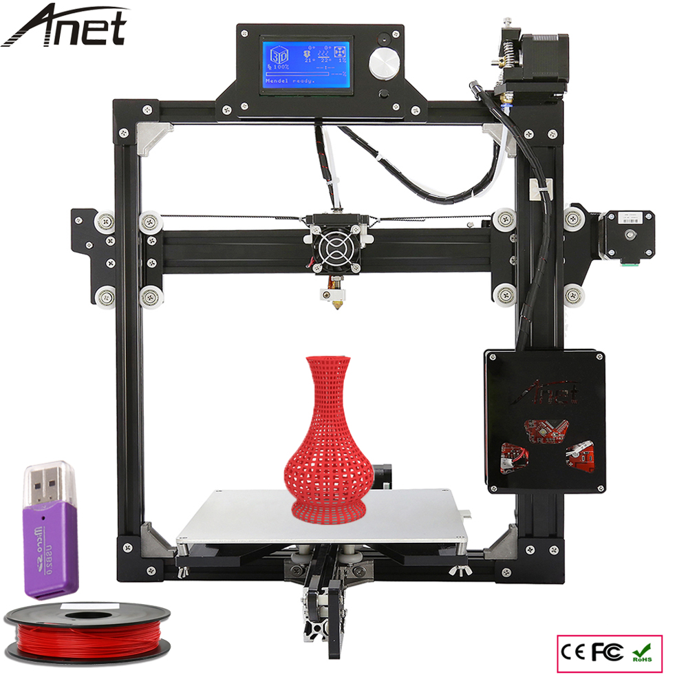 6 Options New Aluminium Structure 3D Printer DIY Prusa i3 3d Printer Kit With Hot Bed +LCD Screen +10M Filament + 8GB SD Card