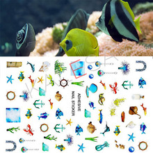 Art-Stickers Decorations Nail-Accessories Ocean-Nail Self-Adhesive Manicure-Design 3D