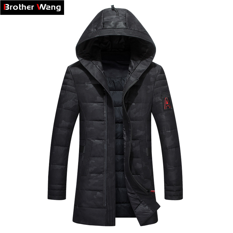 2019 Winter New Men's Warm   Down   Jacket Clothes Fashion Casual Camouflage Pattern Long Section Hooded Thick Duck   Down     Coat   Male