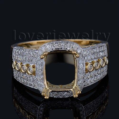 Романтический Обручение Подушки 7x9 мм 18kt желтого золота природных алмазов кольцо Маун ...