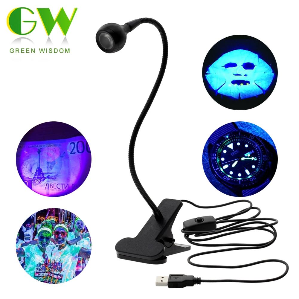 LED Ultraviolet Lights Desk Lamp USB Mini UV Gel Curing Light Nail Dryer for DIY Nail Art for Cash Medical Product Detector