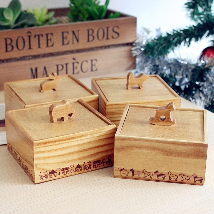 Vintage Wooden 3D Cute Animal Wooden Storage Box Wooden Jewelry Box Small Square Desktop Storage Box Jewelry Case Storage Case