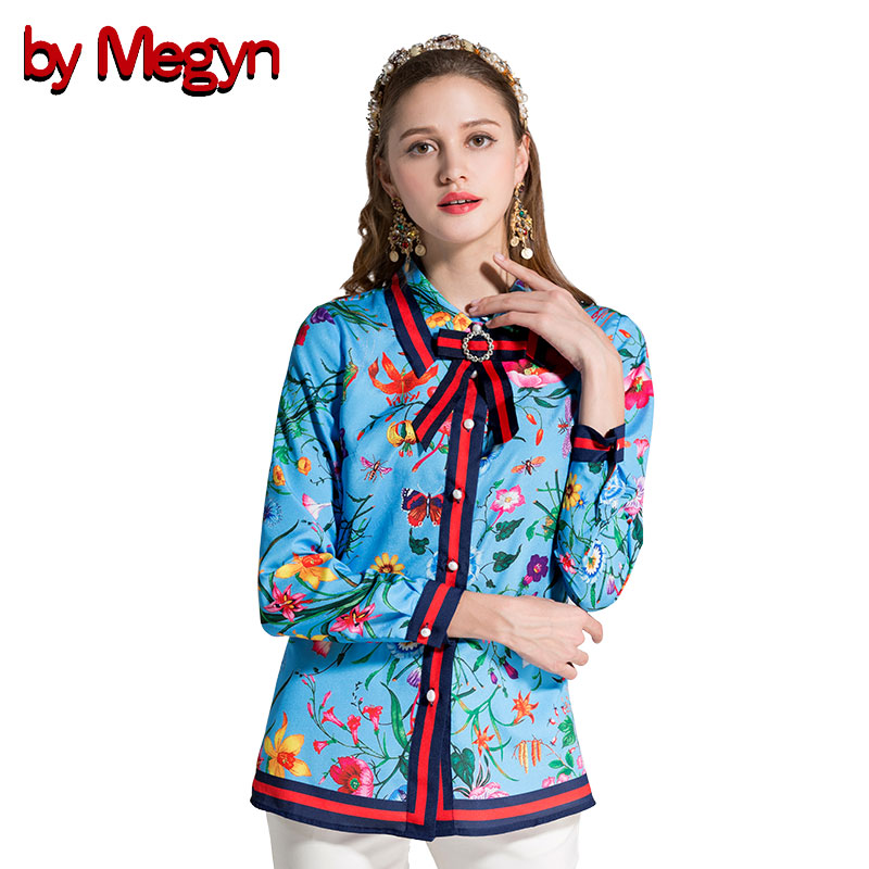 by Megyn 2019 spring summer women blouses elegant floral printed fashion bow long sleeve blouse plus