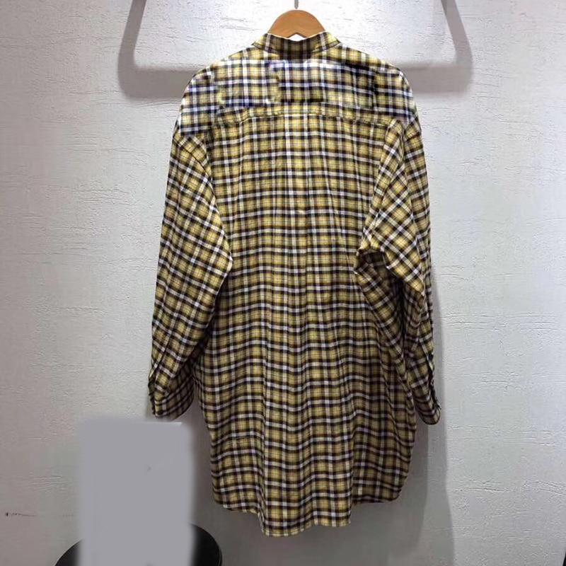 Blouse Mode Pour 2019 Les Haute Bureau Femmes Coton Qualité Plaid Dame Jaune Marque Arc Flanelle TZwSS