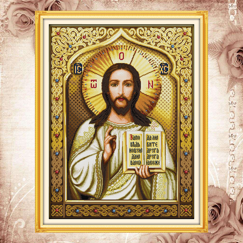 Joy sunday compté point de croix kits jésus chant2 dmc14ct11ct coton tissu religieux déco peinture cadeau art usine en gros