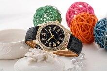 Женева Новый кварцевые часы Для Женщин римские цифры набора наручные часы Для женщин кожаный браслет горный хрусталь часы Relojes Mujer оптовая продажа