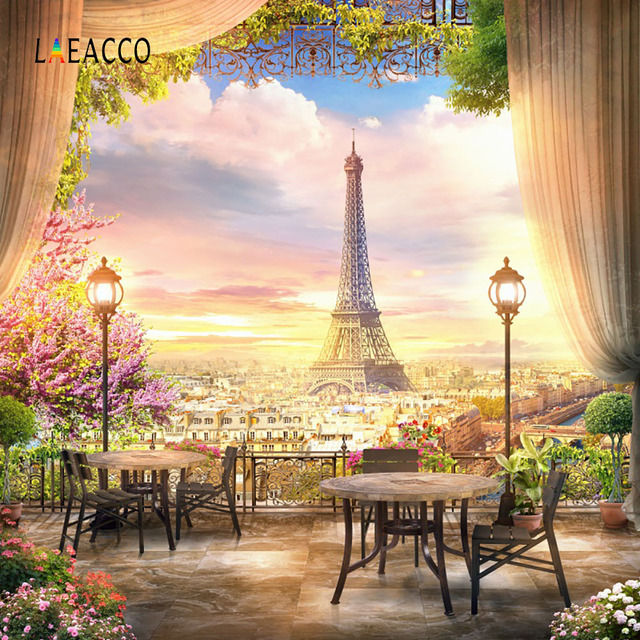 Laeacco Twilight Eiffel Tower Paris Curtain View Platform Photography Backgrounds Custom Photographic Backdrops For Photo Studio
