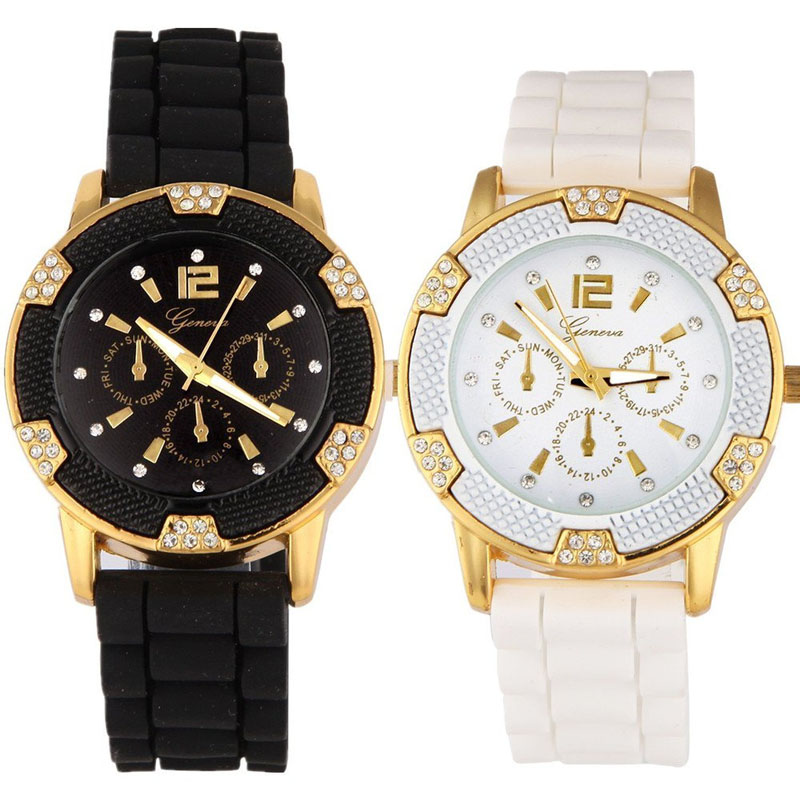 Watch Women Men Relojes 2017 New Arrival Silicone Sport Watch Relogio Black White Rosegold Faux Chronograph Top Brand Luxury