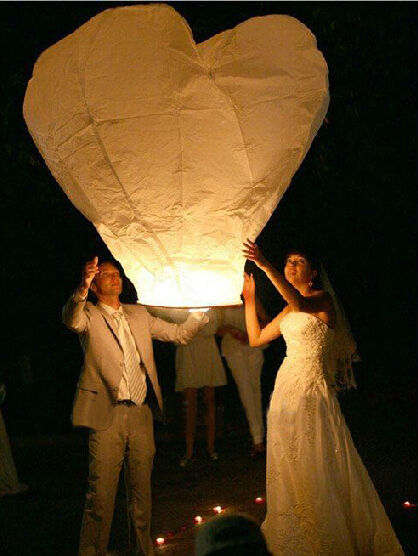 Red Heart Sky Lanterns Chinese Paper Globos Fire Wish Candle Balloons Lighted For Wedding Party Decorations