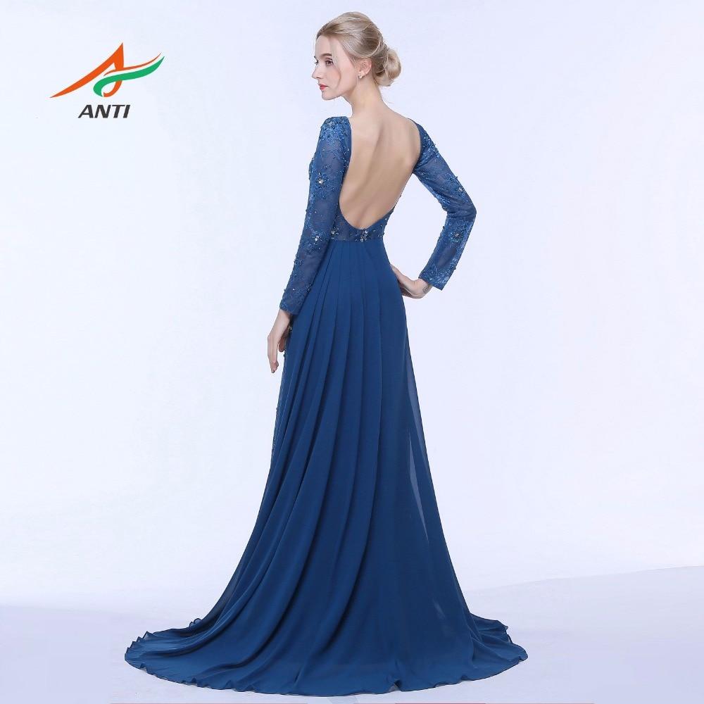 e01a96b9d430e4 ANTI 2019 Donkerblauw Avondjurk Lange Mouwen Backless Formele Gowns Crystal  Celebrity Dress A lijn Wedding Party Abide HQY3141 in ANTI 2019 Donkerblauw  ...