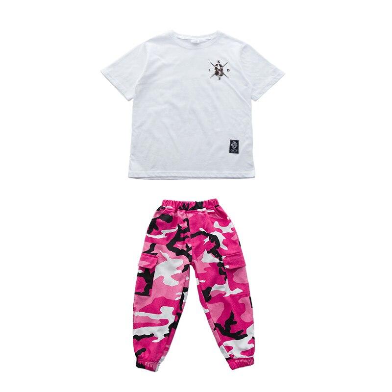 Розовая камуфляжная одежда для бальных танцев в стиле хип-хоп детская джазовая улица хип-хоп танцевальный костюм футболка штаны костюм для детей мальчиков и девочек - Цвет: Suit 2