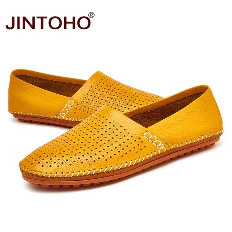 JINTOHO 2017 Deri ve Süet erkek mokasen ayakkabıları Hakiki Deri Marka erkek ayakkabısı Üzerinde Kayma Ayakkabı Erkek deri ayakkabı Erkekler Flats