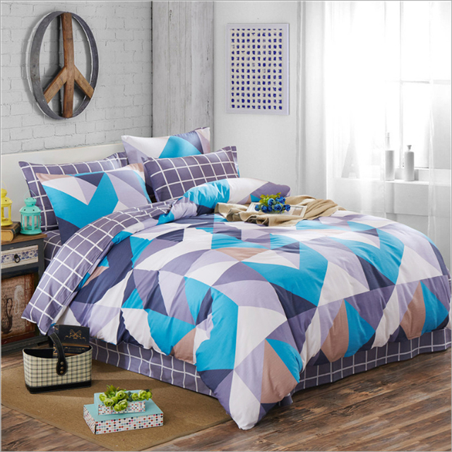 100 Cotton Stripes Plaid Triangle Geometric Pattern Duvet Cover Bed Sheet Set Green Pink Gray Black White Blue Bedding