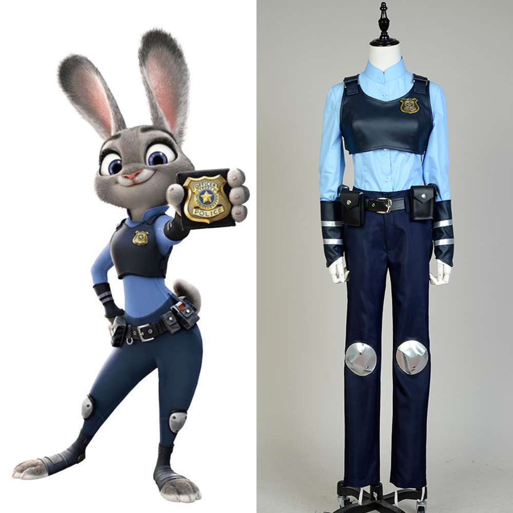 2016 Zootopia Officer Rabbit Judy Hopps Costume Women Girls Halloween Party Club Judi Anime Cosplay Costumes with Ears Full Set