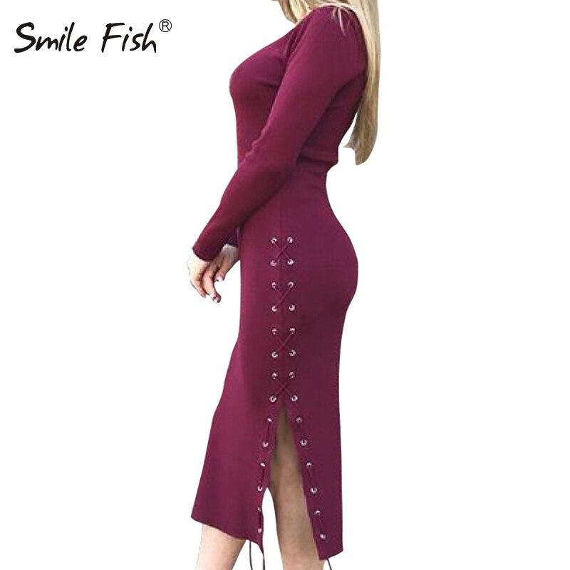 Side Spit Lace Up Dress Long Sleeve Knit Robe Jurken Feminina Bodycon Women Party Dress 2017 Winter Autumn Knitted GV1041 drawstring side heathered knit dress