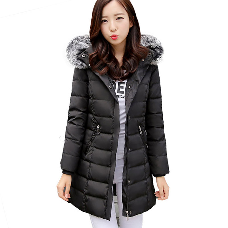 long white duck   down     coats   Women's   Down     Coat   With Raccoon Fur Hood With 90%   Down   Parka Female Long Winter Puffer Jacket