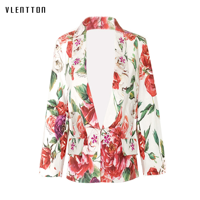 2019 New Vintage Blazer Women Diamonds Print Long Sleeve Elegant Flower Ladies Blazer Spring Autumn Short Female Jacket Blazer