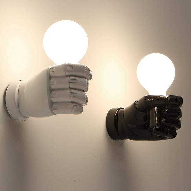Modern left right fists wall lamps nordic white black fist wall modern left right fists wall lamps nordic white black fist wall lights fixture home indoor lighting aloadofball Image collections