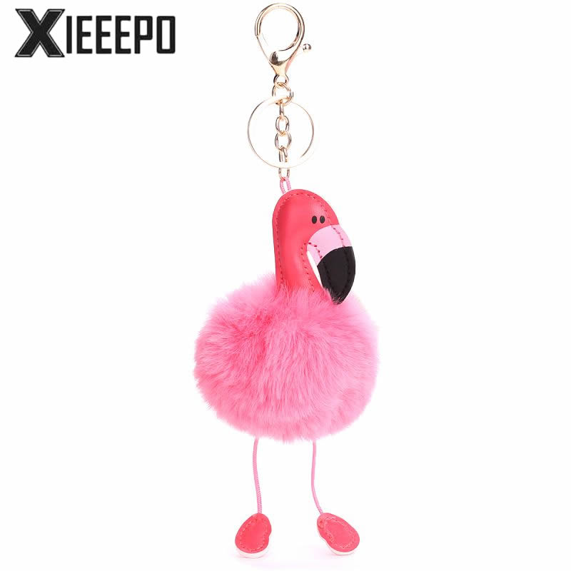 Cute Women Bag Parts Cartoon Animal Flamingo Chain Ring For Bags Soft Rabbit Fur Ball Bag Keychain Parts Accessories Handbag wholesale cheap new cute fluffy keychain faux rabbit fur ball key chains bag backpacks charms trinket car key ring accessories