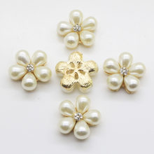 Fashion 10Pcs Sewing Craft 21 mm Flower Round Cluster Crystal Pearl Button Lot Wedding Buckle Jewelry Craft(China)