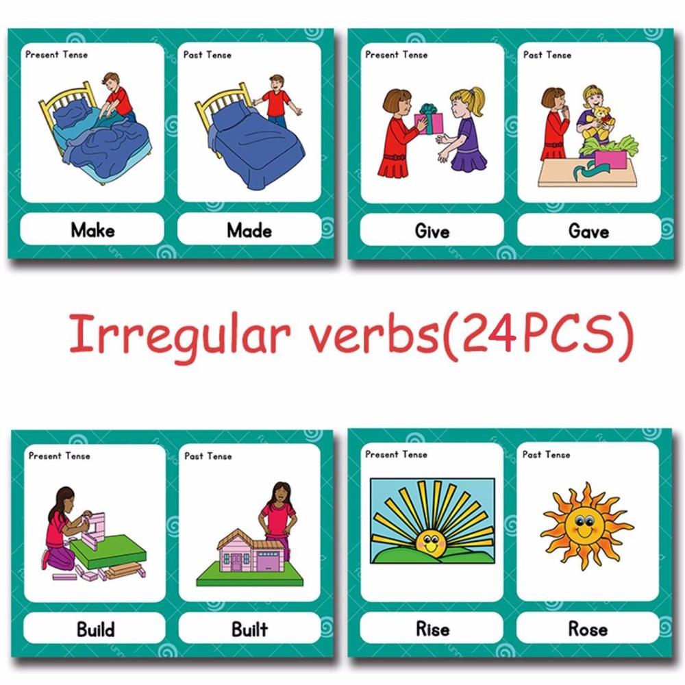 Verbos Irregulares Montessori inglés de bolsillo de tarjeta de juego de rompecabezas Tarjeta de aprendizaje Inglés Educación juguetes para los niños