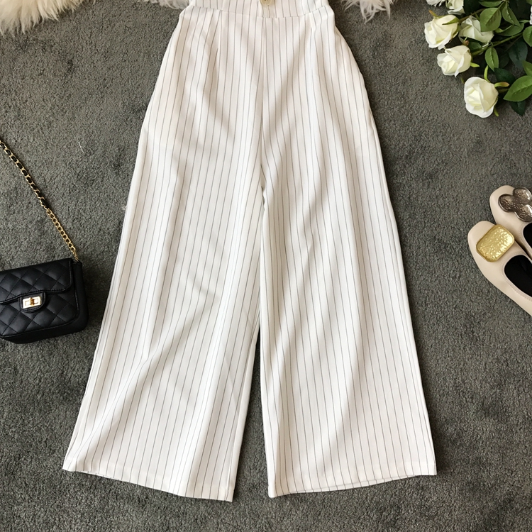 2019 Spring and Summer Korean New Stripe High Waist Open-back Jumpsuit Women Sleeveless Broad-legged Overalls G794 47