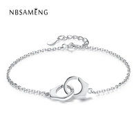 Luxury Jewelry Original 925 Sterling Silver Handcuff Friendship Bracelet Menottes With CZ For Women Silver