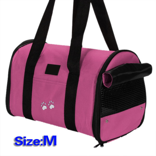M Pet Dog Cat Portable Travel Carrier Tote Bag Crates Shoulder Bag Handbag Easy Carry Pet Bag- Rose Red 36* 25* 22cm