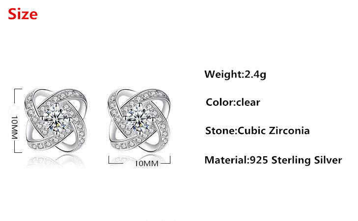 Modny połysk cyrkonia Rose Flower 925 Sterling Silver kobiet stadniny kolczyki hurtownie biżuteria Drop Shipping nie znikną